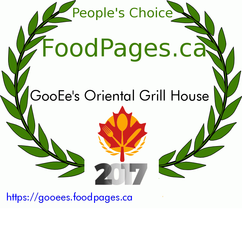 GooEe's Oriental Grill House FoodPages.ca 2017 Award Winner